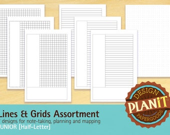 Lines & Grids Assortment, Planner, Junior, Planner Inserts, Planner Pages, PDF Printable, INSTANT DOWNLOAD