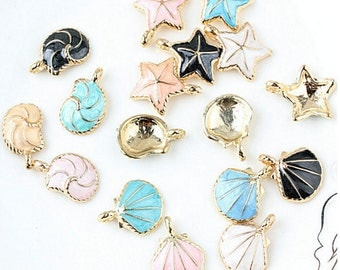 10pcs Nautical Ocean starfish Shell Conch Sea Starfish Enamel Charms Pendant DIY Bracelet Necklace Jewelry Accessory DIY Craft