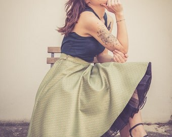 Pure raw silk skirt