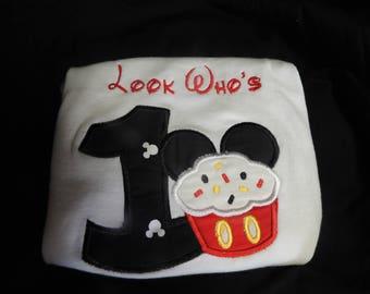 Mickeymousepersonalizedshirt/mickeymousepersonalizedonesie/mickeymousefirstbirthdayonesie/mickeymouseembroideredbirthdayonesie/mickeymouse