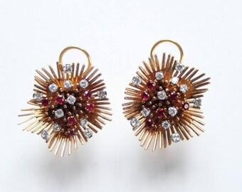 Diamond and ruby Mily Way earrings