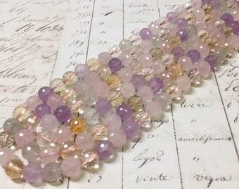 Multi-colored quartz beads, 8mm, Faceted round, Full strand