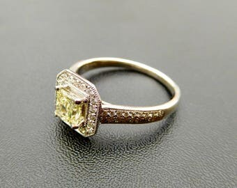 18ct, yellow & white diamond cluster ring, yellow diamond halo engagement ring, vintage style yellow diamond engagement ring, art deco