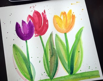 Hand painted watercolor tulips // flowers