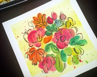 Hand painted watercolor flowers // floral // bright // cheerful