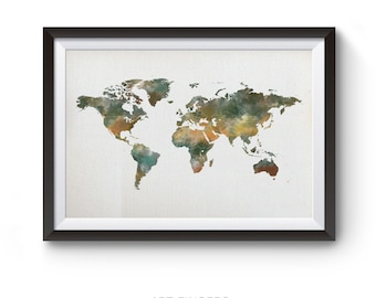 Water colour world map, World map print, world map, world map wall print, world map poster, map decor, printable map,