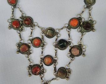 Sale Vintage Genuine Garnet Stone Bib Necklace