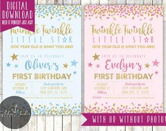 Twinkle Twinkle Little Star Birthday Invitation, Twinkle Twinkle Invite - Printable DIY