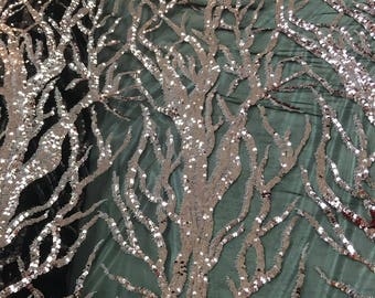 Dusty Rose Fashion Tree Design Embroider W/ Sequins On A 2 Way Stretch Mesh-yd