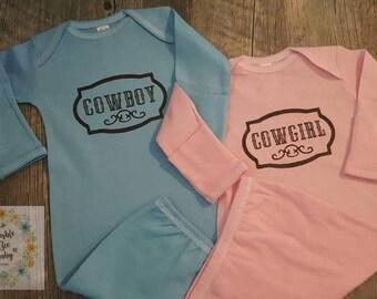 Twins,Girl/Boy, Cowboy,  Cowgirl,  Onesie or Gown Set