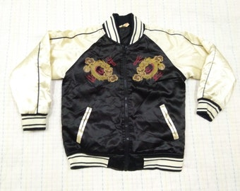 vintage SUKAJAN JACKET DRAGON printed japan survenior 120 for kids