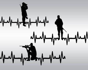 Duck hunter EKG svg, Hunting svg, Heartbeat svg, Hunter svg, Hunter pulse svg, Duck svg, Cricut, Cameo, Clipart, Svg, DXF, Png, Pdf, Eps