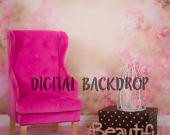 Digital Backdrop Newborn Baby Girl Toddler Pink Princess Chair Fashion Beautiful
