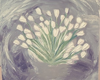 ORIGINAL TEXTURED PAINTING - Wall painting, paintings with tulips, textured art, neutral tones, wall art, flowers