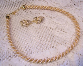Twisted Pearl and Gold Chain Necklace and Earring Set