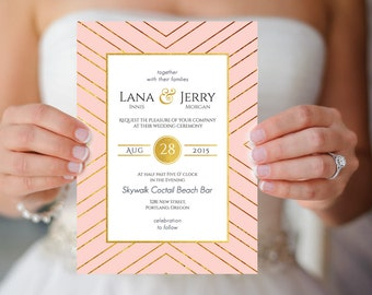 Ready to Print Blush and Gold Old Hollywood 1920s Wedding Invitation Download Printables Print DIY Photo Invitation