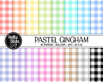 50% off SALE!! 16 Pastel Gingham Digital Paper • Rainbow Digital Paper • Commercial Use • Instant Download • #GINGHAM-101-P