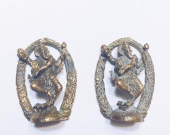 Set of two Antique Bronze Ganesh Pendants