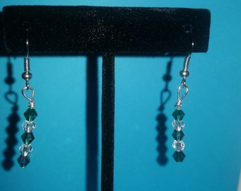 Teal and Clear Earrings