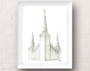 Portland Oregon LDS Temple Painting - Archival Art Print