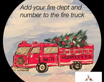Fire Fighter Gift - Personalized Fire Department - Unique Fire Fighter gift - Christmas Gift - Firetruck - Thank you - For the Fire fighter