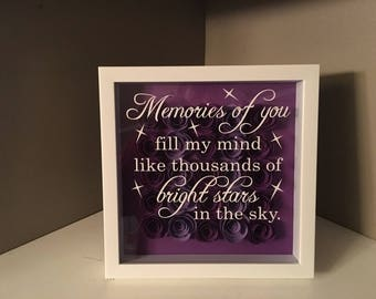 """White Shadow Box with Memorial Saying 8""""x 8"""""""
