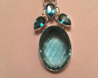 50cts Swiss Blue Topaz Pendent