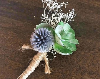 Groom or Groomsmen Succulent Boutonniere With Thistle