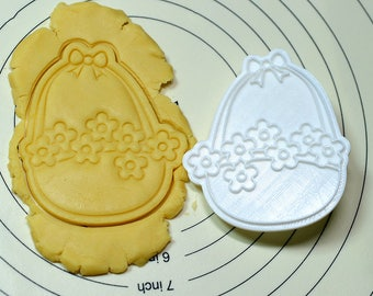 Ribbon Flower Basket Cookie Cutter and Stamp