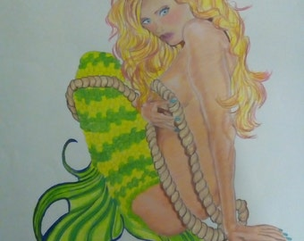 Color Pencil drawing of a mermaid