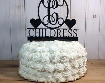 Wedding cake topper, acrylic cake topper, personalized cake topper, last name cake topper, unique cake topper