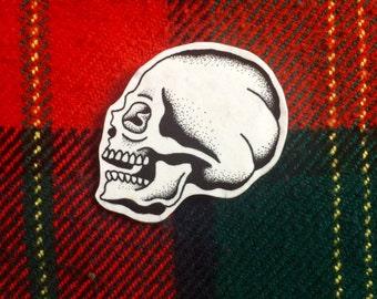 Handmade Stippled Skull Pinbadge