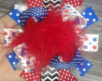 Big 4th of July feathery boutique bow