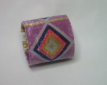 Miyuki Delica Glass Bead-Woven Cuff *Diamonds*
