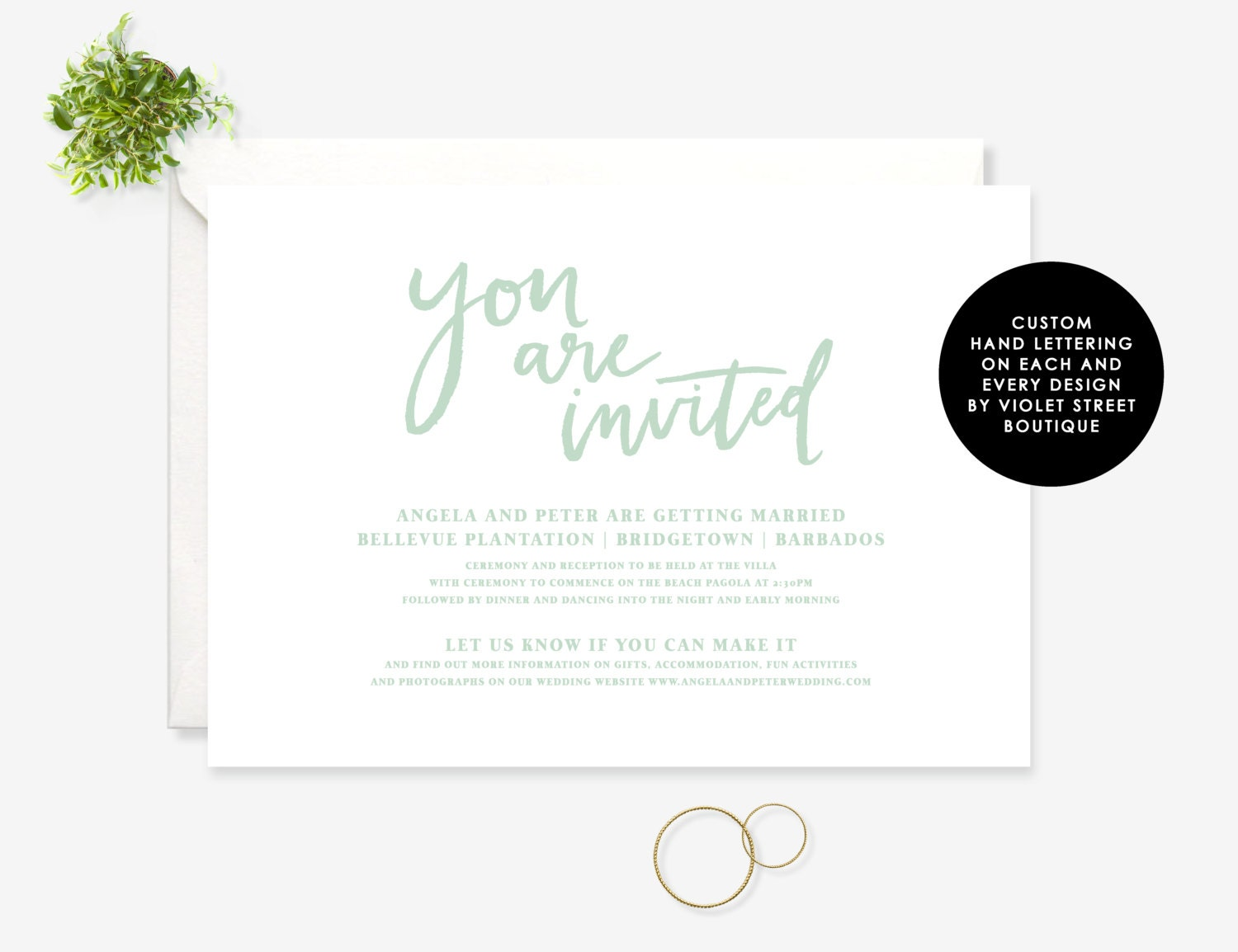Mint Green Wedding, Fresh Wedding Invite, Modern Calligraphy ...