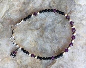 Amethyst Bracelet, Amethyst Beaded Bracelet, Swarovski Crystal Bracelet, Purple Bracelet, Silver, Black Onyx Bracelet, Black Bracelet