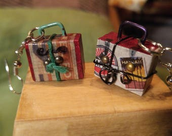 Earrings small suitcases. Miniature suitcases for your ears! Charming. Original creation.