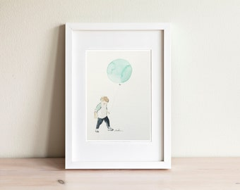 Illustration petit garçon ballon, little boy with balloon Illustration / fait main, handmade