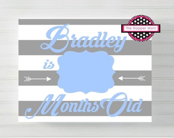 Blue and Gray and White Striped Baby Photo Prop/Baby's First Year Monthly Update/Printal/Digital File