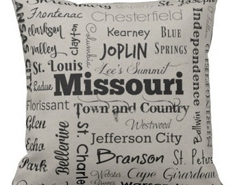 Missouri cities pillow - MO typography throw pillow - yellow or gray decorative pillow - Mo. cushion - gift