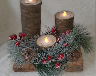 Rustic winter candles