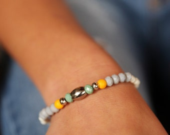 Gemstone Bracelet, Howlite Stone bracelet, Beaded Bracelet, Stacking Bracelet, Womens Bead Bracelet, Gemstone Bracelet, Yoga Bracelet