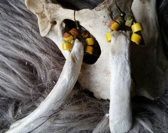 Earrings made of bone