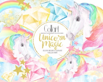 Unicorn Clipart, Rainbow Clipart Watercolor Illustrations, Fairy Tale Baby Shower Kids Party DIY Invitation Gold Glitter, Unicorn Watercolor