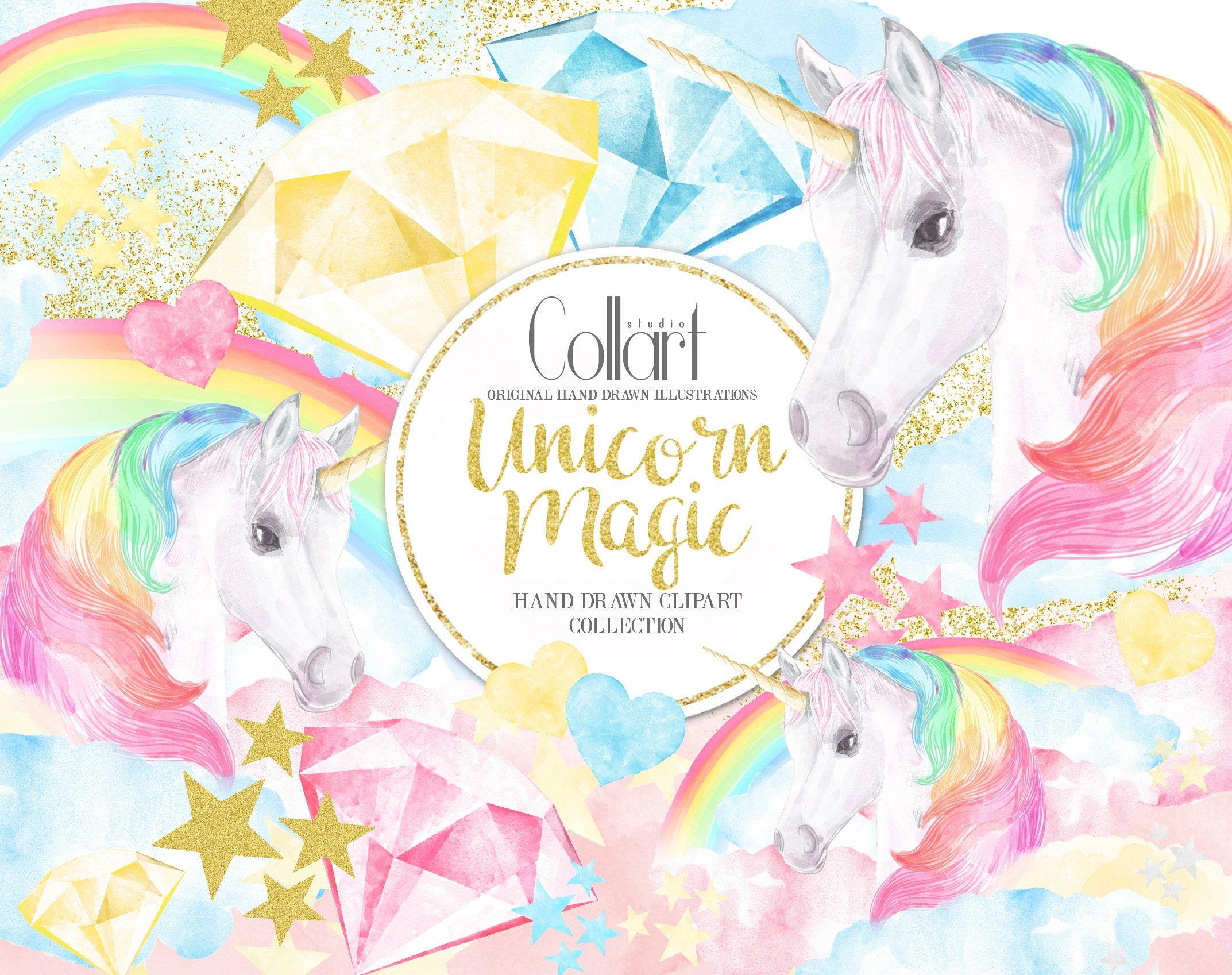 Unicorn Clipart Rainbow Clipart Watercolor Illustrations