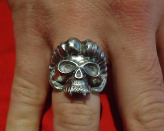 Silver Demon Skull Ring - Goat Head Ring Satan - Demon Ring - Silver Vampire Ring - Black Metal Ring - Black Metal Jewelry - Gothic Jewelry