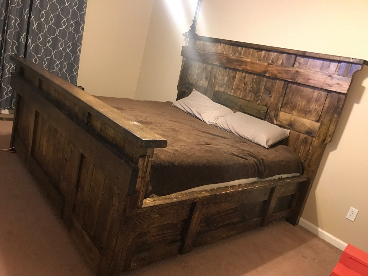 Rustic Farmhouse Platform Bed Frame Platform Bed Frame Head Board Wood Bed