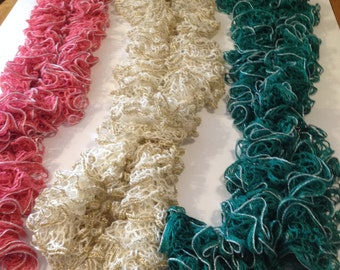 frilly knitted scarves