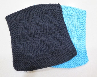 knitted black wash cloth