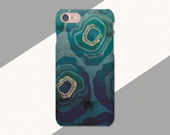 Green Blue iPhone Case, Abstract Geode Phone Case, iPhone 6 Case, iPhone 7 Case, Phone Case for iPhone 6S, SE Case, 6S Plus, 6 Plus, 7 Plus